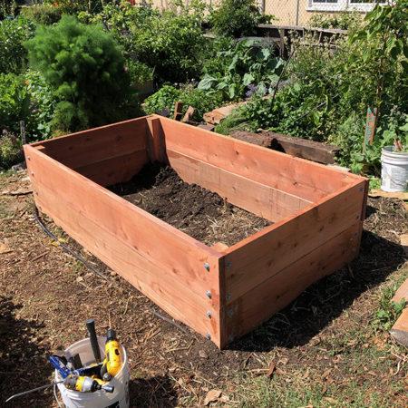 a wooden garden retainer